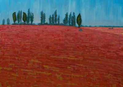 """""""OLesia Kaznokh Poplars and red field"""" From the """"So natural"""" cycle"""