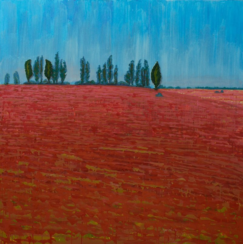 Олеся Казнох «Тополі і червоне поле». З циклу «Так природно». 90х90 см. 2017