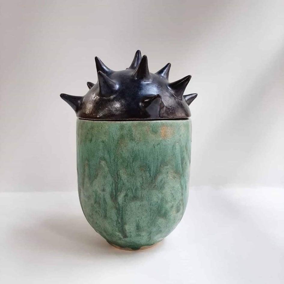 Jar with barbed lid. Kudryava ceramic