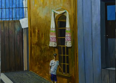 "(English) Olesya Kaznokh ""Embroiderer near the golden tower"" (Fondazione Prada) 2018"